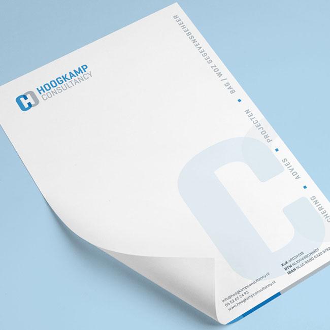 Briefpapier ontwerp voor Hoogkamp Consultancy