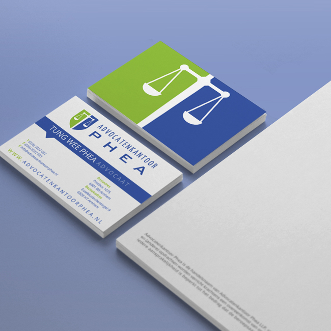 Visitekaartjes ontwerp voor Advocatenkantoor Phea