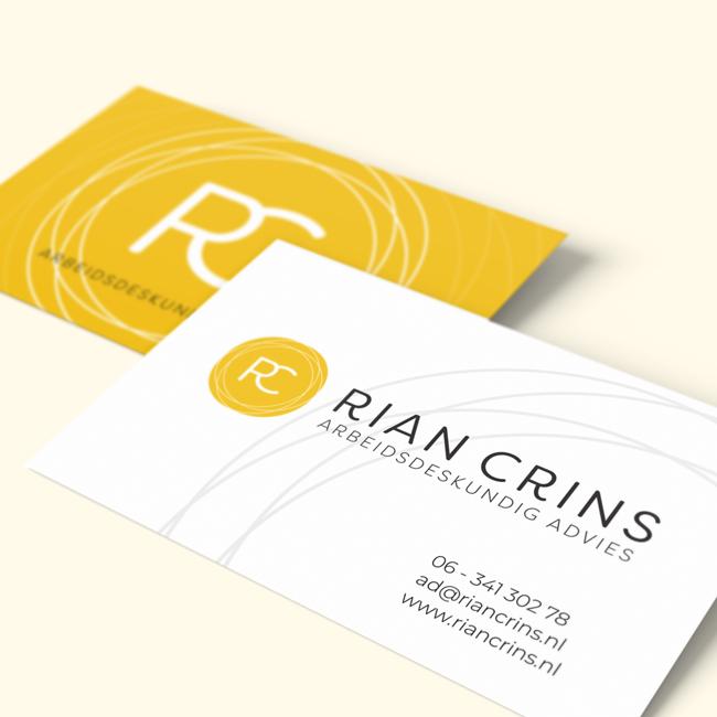 Visitekaartjes ontwerp voor Rian Crins
