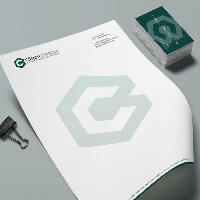 Huisstijl ontwerp voor Clifton Finance